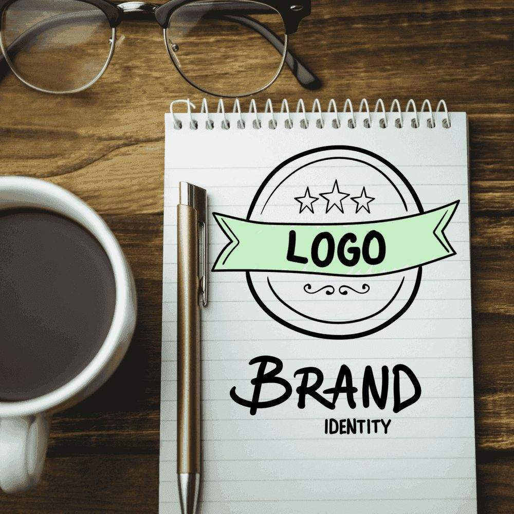 Brand development, notepad and coffee