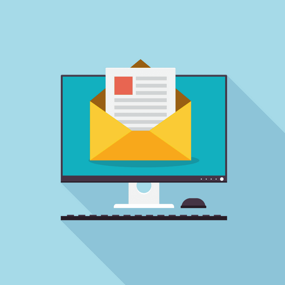 Email Marketing, graphic of computer with a letter
