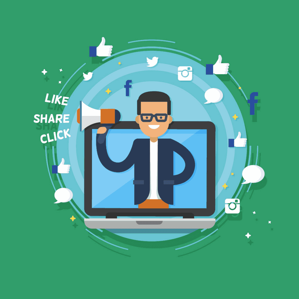 Social Media, man with computer and social icons