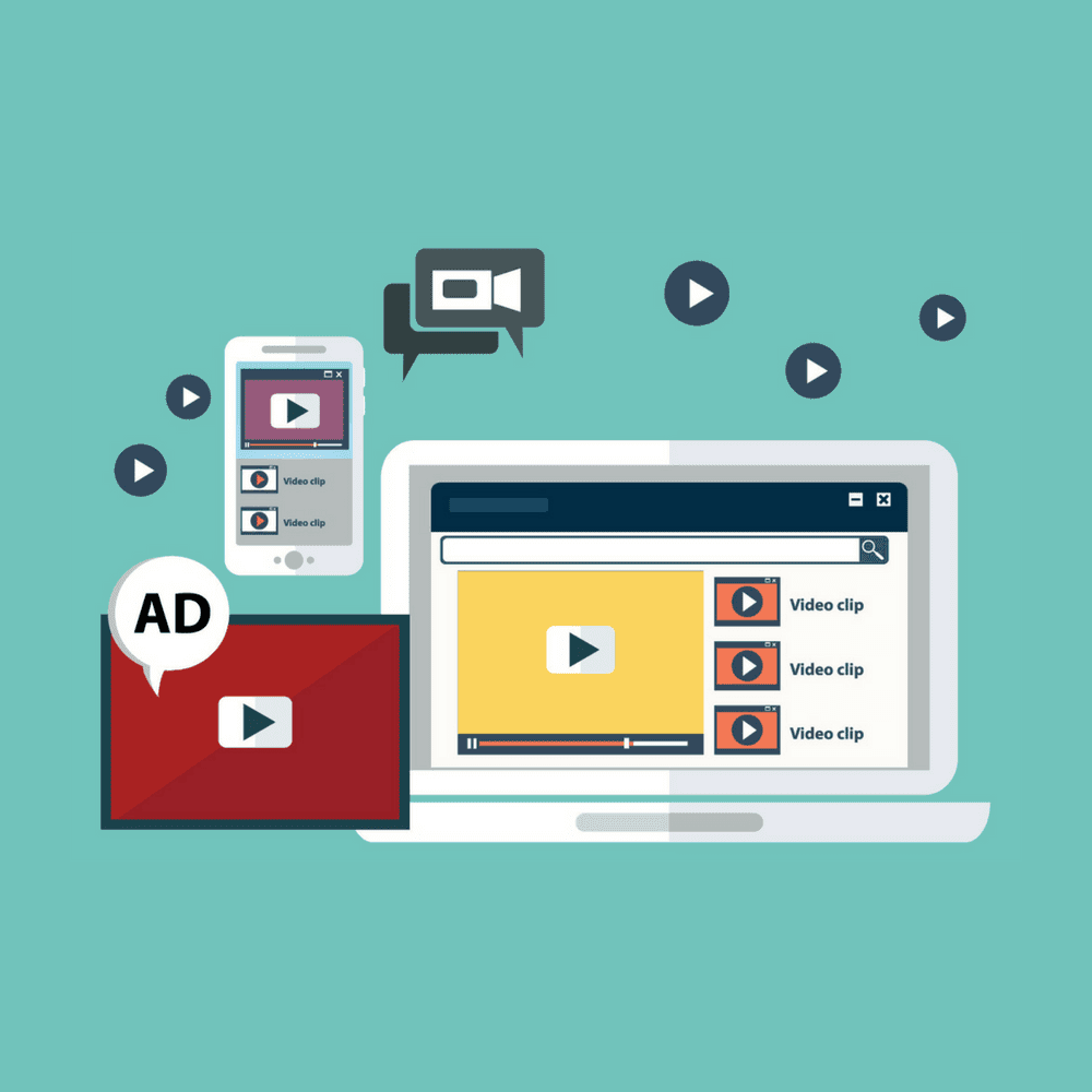Video Production, computers with video icons