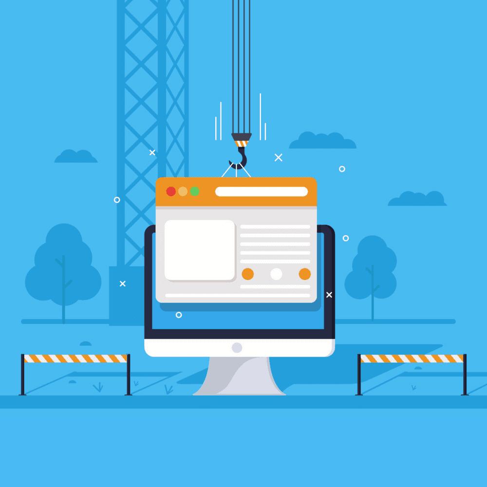 Website Design, Computer screen under construction